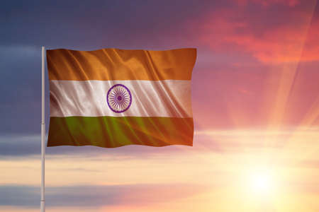 Flag with original proportions. Flag of the India