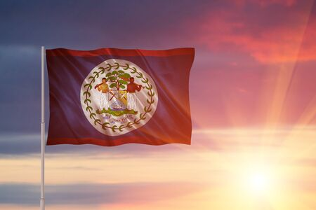 Flag with original proportions. Closeup of grunge flag of Belize. Stock Photo
