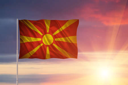 Flag with original proportions. Closeup of grunge flag of Macedonia