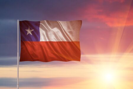Flag with original proportions. Closeup of grunge flag of Chile