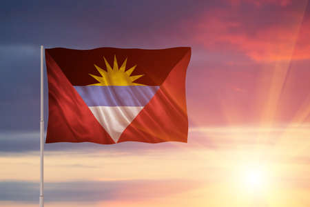 Closeup of grunge flag of Antigua and Barbuda. Flag with original proportions