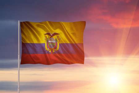 Closeup of grunge flag of Ecuador. Flag with original proportions. Stock Photo