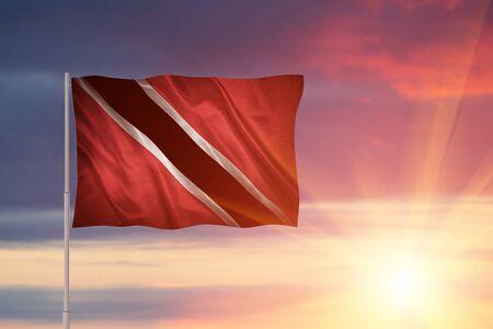 Flag with original proportions. Closeup of grunge flag of Trinidad and Tobago