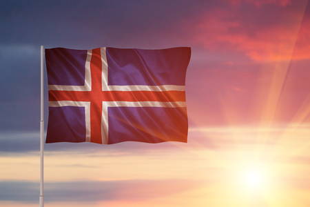 Flag with original proportions. Closeup of grunge flag of Iceland Archivio Fotografico