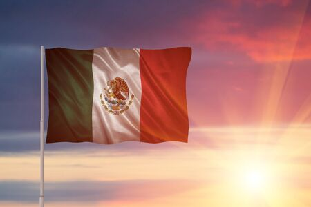 Flag with original proportions. Closeup of grunge flag of Mexico Stock Photo