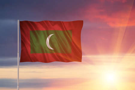 Flag with original proportions. Flag of the Maldives