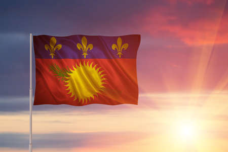 Flag with original proportions. Closeup of grunge flag of Guadeloupe Stock Photo