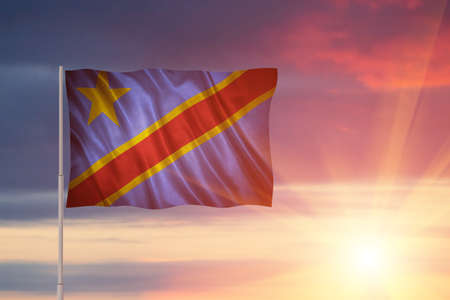 Flag with original proportions. Flag of the Democratic Republic of the Congo