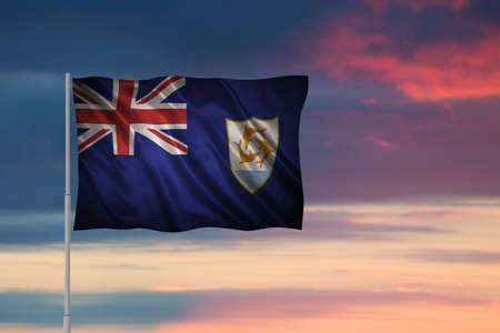 Closeup of grunge flag of Anguilla. Flag with original proportions Stock Photo