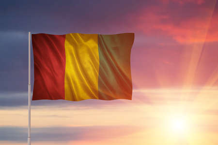 Flag with original proportions. Flag of the Guinea Stock Photo