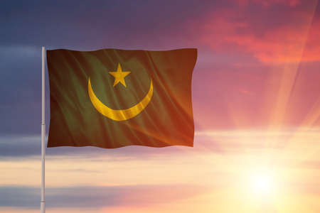 Flag with original proportions. Flag of the Mauritania