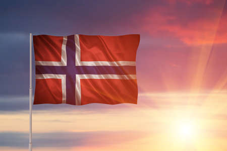 Flag with original proportions. Closeup of grunge flag of Norway Stock Photo