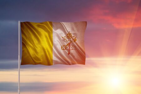 Flag with original proportions. Closeup of grunge flag of Vatican City