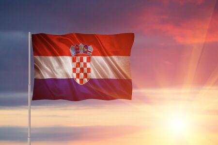 Flag with original proportions. Closeup of grunge flag of Croatia Standard-Bild