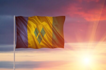 Flag with original proportions. Closeup of grunge flag of Saint Vincent and the Grenadines