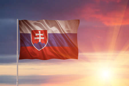 Flag with original proportions. Closeup of grunge flag of Slovakia Stock Photo
