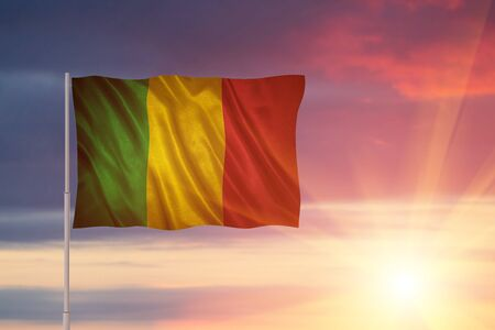 Flag with original proportions. Flag of the Mali Stock Photo