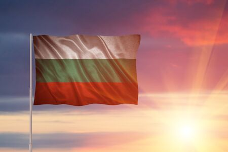 Flag with original proportions. Closeup of grunge flag of Bulgaria Stock Photo