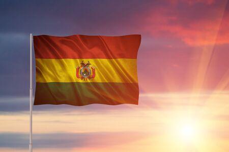 Flag with original proportions. Closeup of grunge flag of Bolivia Stock Photo