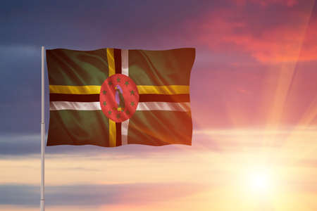 Flag with original proportions. Closeup of grunge flag of Dominica Stock Photo