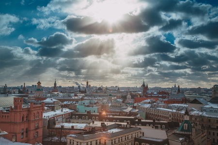 Russia, Moscow cityscape. View from the roof of a house in the Central part of the city. Top view of Moscow city skyline