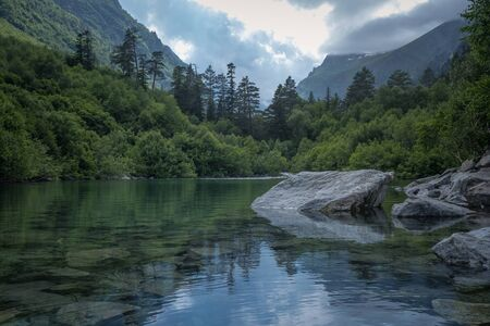 Mountain forest lake landscape