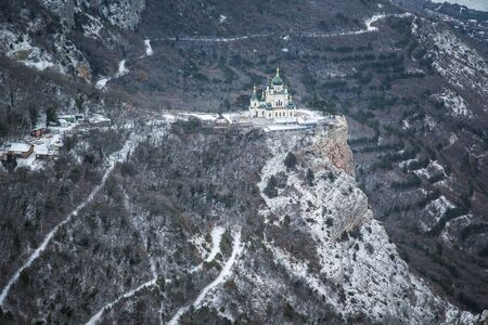 Winter Crimean mountains, Church in the mountains over Foros. Church of the Resurrection