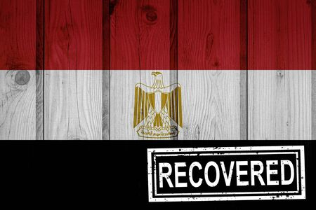 flag of Egypt that survived or recovered from the infections of corona virus epidemic or coronavirus. Grunge flag with stamp Recovered