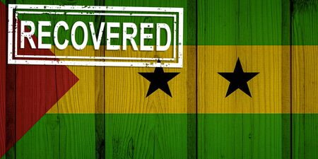 flag of Sao Tome and Principe that survived or recovered from the infections of corona virus epidemic or coronavirus. Grunge flag with stamp Recovered