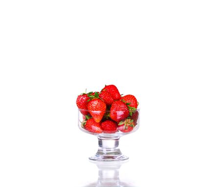 fresh juicy strawberries isolated on white background. idea and concept of healthy nutrition, oranic products