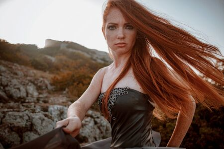 beautiful furious scandinavian warrior ginger woman in grey dress with metal chain mail. Woman is a Viking. Fantasy. Book Cover. beautifully flying dress Stockfoto