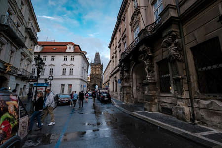 Prague, Czech Republic - 11.08.2019: Old Town Square is the heart of the Czech city of Prague, The outer facade of the powder tower in Prague, the tower separates the Old town and New town in Prague. Editorial