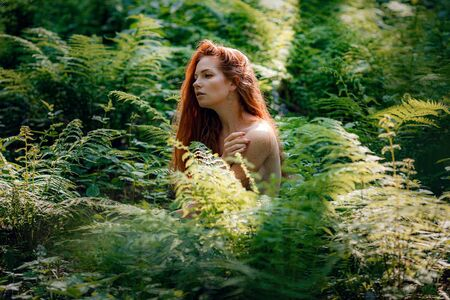 Fantasy Fairy Tale Forest, Fairytale Nature Goddess, Nymph Woman in Mysterious Green fern. idea and concept of Arbor day or Mother earth day