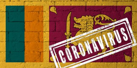 Flag of the Sri Lanka with original proportions. stamped of Coronavirus. brick wall texture. Corona virus concept. On the verge of a COVID-19 or 2019-nCoV Pandemic. Stock Photo