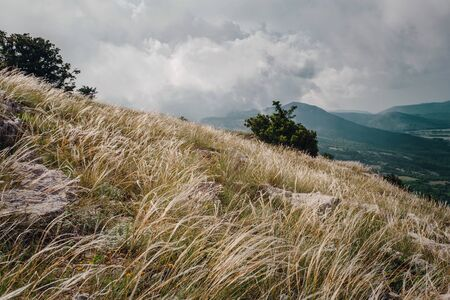 feather grass on the slopes of the summer mountains. beautiful dramatic sky with clouds. High hills. Grass on the rock. Overcast. Cloudy valley. The slope of the peak