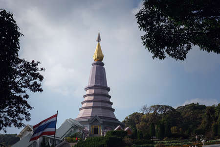 Landscape of pagoda at the Inthanon mountain at sunny day, Chiang Mai, Thailand. Inthanon mountain is the highest mountain in Thailand.