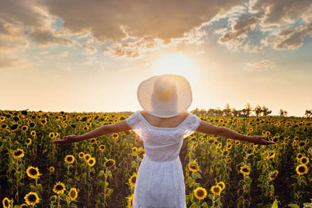 Beautiful young girl enjoying nature on the field of sunflowers. stands back and looks at the sunset, the girl raised her hands in the air, beautiful back sunset light.