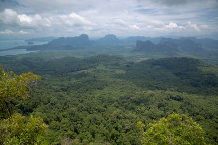 View of the valley and the Andaman Sea, islands and mountains from the viewpoint, Krabi, Thailand