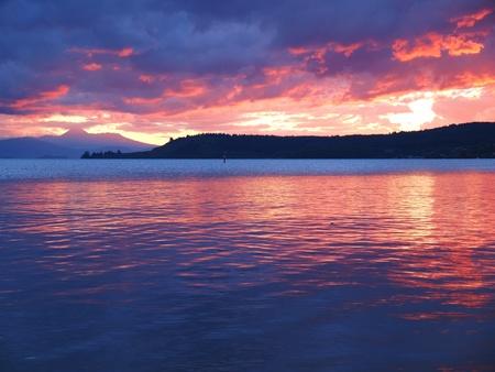 waterside: Taupo lake Sunset Stock Photo