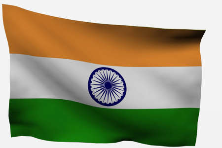 india 3d: India 3d flag isolated on white background