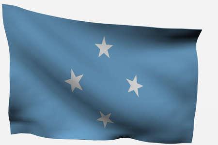 micronesia: Micronesia 3d flag isolated on white background