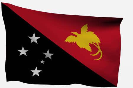 new guinea: Nuova Guinea 3d bandiera isolato su sfondo bianco