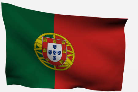 Portugal 3d flag isolated on white background photo