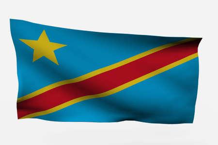 reps: Bandera de dem Rep Congo 3d aislado sobre fondo blanco  Foto de archivo