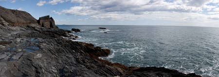 foreshadowing: rough sea panoramic view of the rocky coast of southern Spain Stock Photo