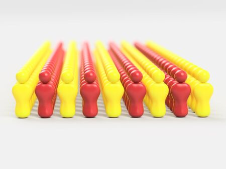 3D Illustration Flag of Catalonia made of little men against a clear background