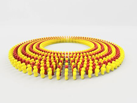 3D Illustration Flag of Catalonia made of little men walking in circle against a clear background