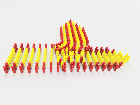 Catalonia independence from Spain, 3D Illustration Flag of Catalonia made of little men against a clear background Stock Photo