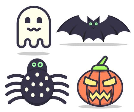 Ensemble Halloween (araignée, chauve-souris, fantôme, citrouille) Banque d'images - 87431698