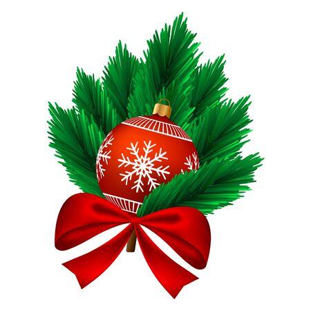 Christmas bauble on fir with a bow